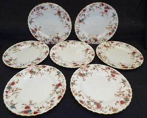 Minton England Ancestral 7 Salad Plates Gold Trim Bone China Wreath Mark