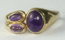 CONTEMPORARY MODERN 14K GOLD AMETHYST RING SIDE SET SIZE 7.25