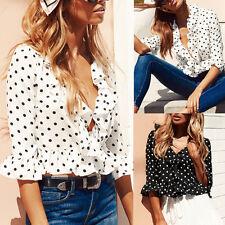 Fashion Women 3/4 Sleeve V Neck Chiffon Blouse Summer Casual T-Shirt Tops DA