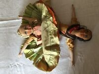 ANTIQUE TOPSY TURVY FRENCH BOUDOIR BED DOLLS RARE TO FIND! 17INCH /44CMS
