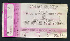 Original 1992 U2 Concert Ticket Stub Zoo TV Tour Oakland Coliseum Achtung Baby