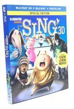 Sing 3D (Blu-ray 3D+Blu-ray+Digital HD, 2017; 2-Disc Set) NEW w/ Slipcover