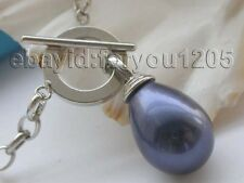 Shell Pearl Pendant #f1478! Natural 20mm Blue Drip