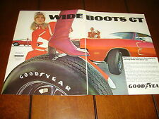 1969 DODGE CHARGER  ***ORIGINAL 2 PAGE AD*** GOODYEAR
