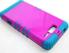 Motorola Droid RAZR M i XT907 -HARD & SOFT RUBBER HYBRID CASE HOT PINK TEAL BLUE
