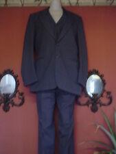 Men's Vintage Chadmore Size 42L Blue Pinstripe Wool 3 pc Suit Euc