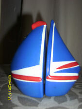 Salt And Pepper Shakers Blue Sailboat Summer Shop Never Used