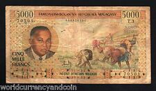 MADAGASCAR 5000 FRANCS P60 1966 FRANCE WOMAN MOUNTAIN RARE AFRICA CURRENCY NOTE