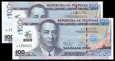 2013 Philippine 100 Pesos NATIONAL YEAR OF RICE 2 Consec Nos STARNOTE Banknote