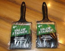 """Lot x2 4"""" Value Paintbrushes-100% Polyester-For Stain/Varnish-Indoor/Outdoor-New"""