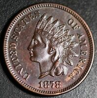 1878 INDIAN HEAD CENT - AU+ UNC - With HINTS OF MINT LUSTER!