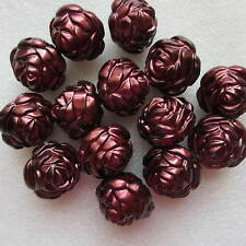 15 Beads Rose Flower Big Large Chunky Shining 28 x 20mm Maroon Jewellery Making