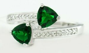 AAA EMERALDS 1.04 Cts & DIAMONDS RING .925 Sterling Silver ** NEW WITH TAG **