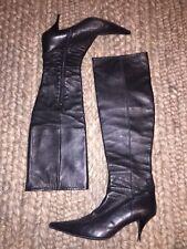 Loriblu Vero Cuoio Tall Black Knee High Pointed Toe Leather Heel Boots 39