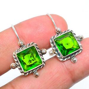 """Peridot Gemstone 925 Sterling Silver Bali Earring Jewelry 1.09"""" T8646"""