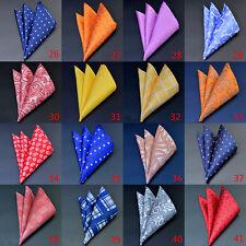 Men Pocket Square Handkerchief Silk Dot Paisley Floral Hanky Wedding Party F2