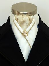 "ERA ""Ellie"" Gold Brocade & Cream Satin Stock Tie with Gold Piping & Pin"