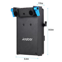 Andoer V-Mount Battery Adapter Plate + 15mm Dual Hole Rod Clamp for BMCC Canon