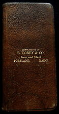 1914-15 Leather Cover Pocket  Memo Book C COREY & CO IRON & STEEL Portland Maine