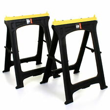 2x Folding Plastic Sawhorse Twin Pack Trestle Saw Horse Stands Fold Away Cutting