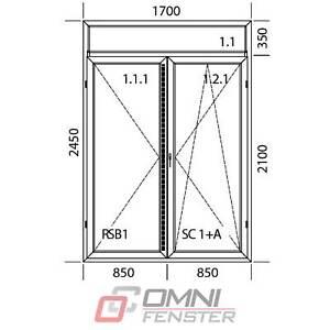 Tür auf Maß Terassentür mit Oberlicht 1700 x 2450 mm Balkontür Fenster ALUPLAST