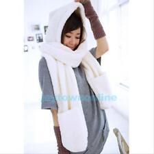 Fashion Women Winter Warm Earflap Hat Long Scarf Shawl Gloves Hand Warmer Wrap