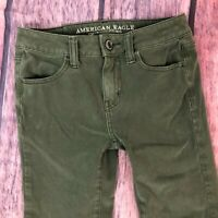 American Eagle Olive Jegging Skinny Jeans Size 0 Short Denim 360 Stretch