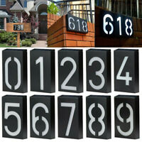 Solar Powered LED Light House Number Door Sign Plaque Street Address Lamp US