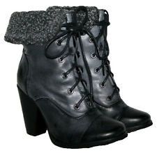 "LADIES 4"" HEEL BLACK DIRTY LACE UP MILITARY BOOT WITH FUR COLLAR IN SIZES 3-8"