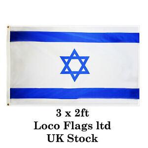 Israel 3 x 2ft Flag Hand Big Country State Territory Jewish Star David Israeli A