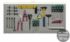 XXL Werkzeugwand Lochwand Werkstattwand Hakensortiment Werkzeug Metall Grau TOP
