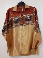 Vintage Ranger Shiny Cowboy Rodeo Horse Print Western Long Sleeve Shirt Size XL
