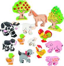 BAUERNHOFTIERE Holz 14 Stück Farm Holzfiguren Tiere 14-teilig Bauernhof °°NEU°°