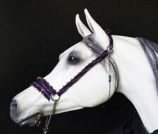 Hand Braided Arabian Style Show Halter, Horse Tack, BLACK PURPLE Swarovski -WOW!