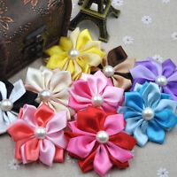 20 pcs Padded Ribbon Bows Flowers Appliques Wedding Doll Decor A328