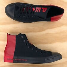 Converse Chuck Taylor All Star Hi Top Black Red Seek Peace Shoes 166534F Size 9