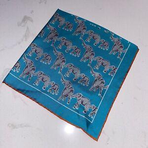 Seaward & Stearn Turquoise Elephant Print Silk Pocket Square NWT