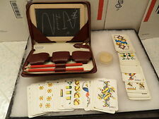 Vintage Swiss Made Card Game In Leather Case