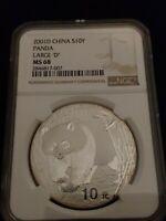 2001 Large D China Panda 10 Yuan NGC MS68 1 Oz Silver Coin