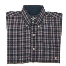 Cinch Shirt Mens Medium Navy Blue Red Plaid Western Short Sleeve Button Down