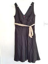 MONSOON Womens Black Silk Mix Floaty Gothic Evening Cocktail Dress Size 12 Belt
