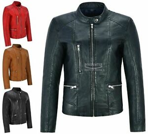 Ladies Women Leather Jacket Fashion Casual Biker Tops Real LEATHER Jacket 9213