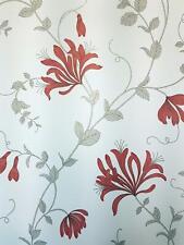 Red Floral Trail Wallpaper Flowers Honeysuckle White Grey Metallic Crown