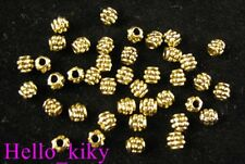 400Pcs  Antiqued gold plt beaded barrel spacer beads A279