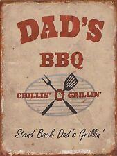 Dads BBQ chillin n grillin Retro metal Aluminium Sign vintage,pub beer signs