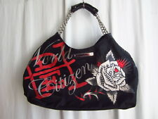 Ed Hardy Black Leather/Nylon Rhinestone Chain Handbag Purse Large/Med (PBK-24