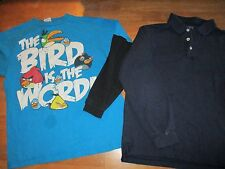 Boys shirts size 14, lot of 2, French Toast navy blue polo, Angry Birds *349