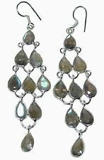"Sterling 925 SILVER Labradorite Chandelier Earrings, 3"" Long Drop Gems Earring"