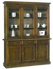 Cristalliera 3 porte, cassetti,in arte povera, legno massello, credenza, mobile