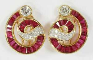 2.20Ct Baguette Cut Red Ruby Omega Back Stud Earrings 14K Yellow Gold Finish